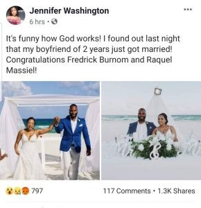 Shocking!!! Facebook user finds out her boyfriend of 2 years has